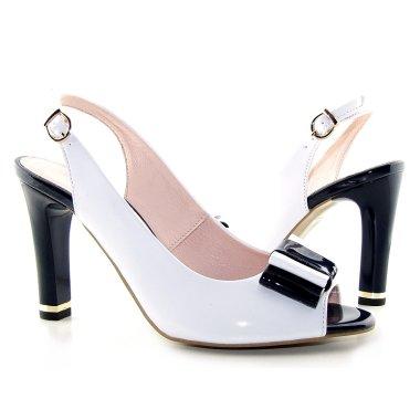 ... kvalitné bielo-modré sandálky na podpätku - Kabelky-topanky.sk
