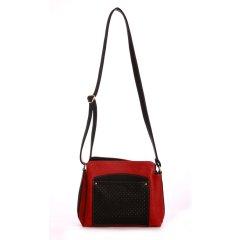 Dámska trendová červeno-čierna kabelka cez rameno