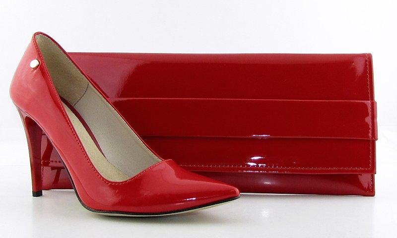 104467caa584d Dámske elegantné špicaté červené lakované lodičky GIFT a Spoločenská  červená listová kabelka