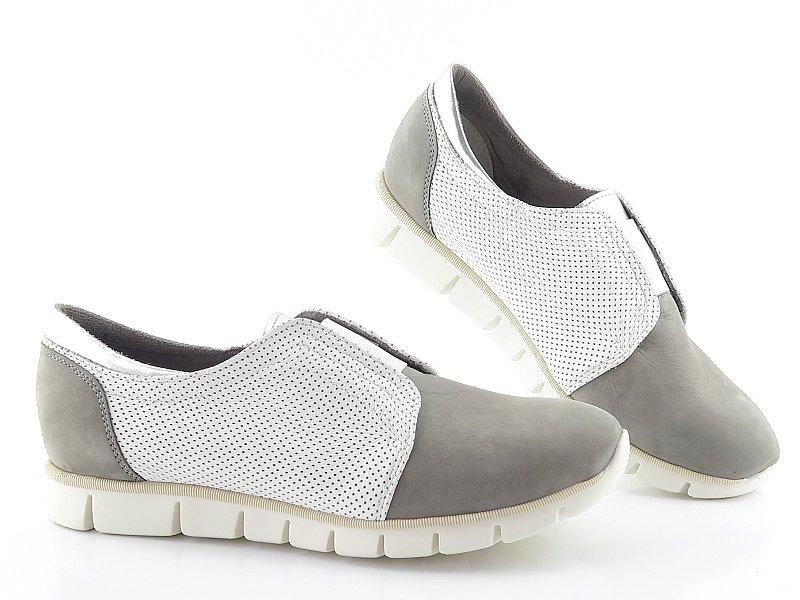 c9d41426f Dámske kožené sivé topánky s gumičkou ROBSON • Kabelky-topanky.sk