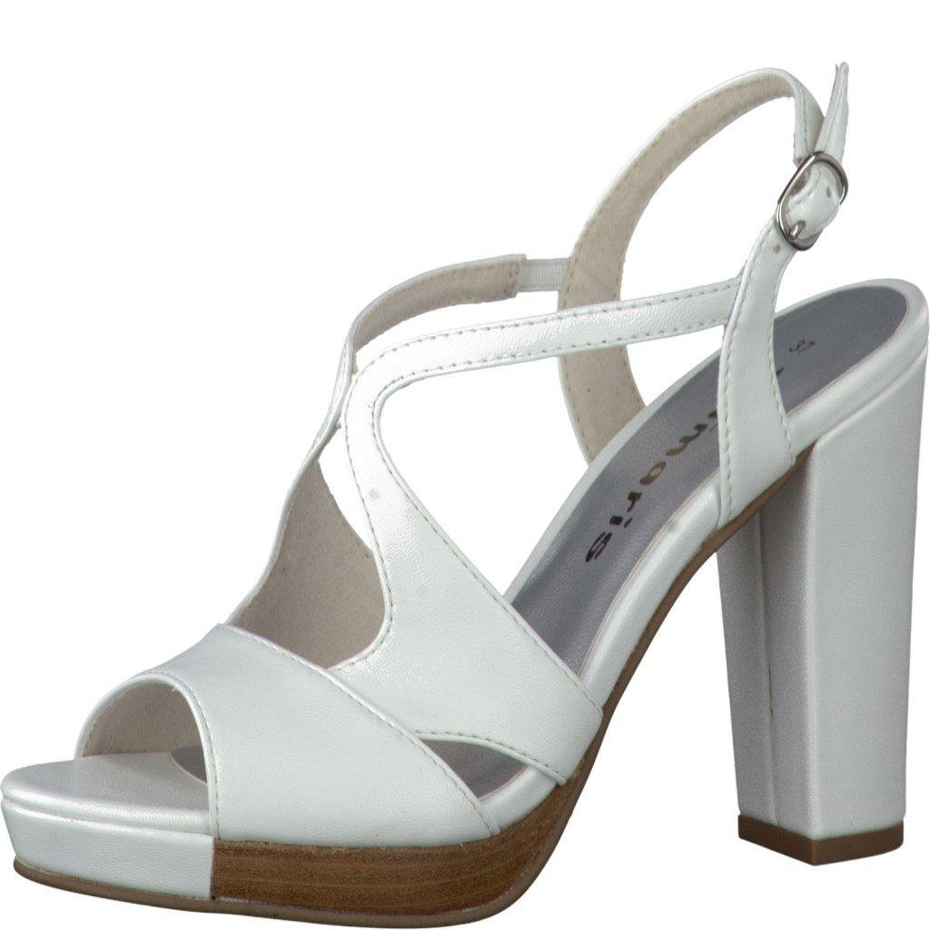 1019df226b63b Dámske letné biele sandálky na podpätku TAMARIS • Kabelky-topanky.sk