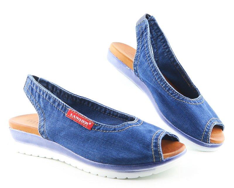 3376b6b2b82cd Dámske rifľové sandálky s gumičkou LANQIER • Kabelky-topanky.sk