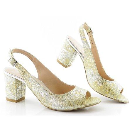45e8e571fc306 Dámske žlto-strieborné sandálky ASPENA