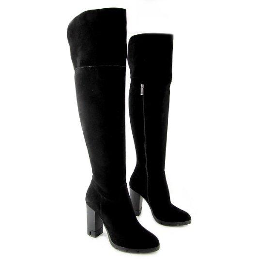 9f9c69e5bd9f4 Elegantné kožené čierne čižmy na podpätku BEST BUT • Kabelky-topanky.sk