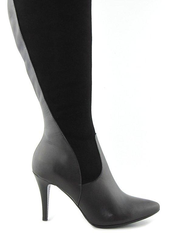 688b2fae6bc41 Elegantné kožené čierne čižmy na podpätku SAN • Kabelky-topanky.sk