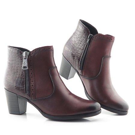 4d49e8664 Komfortné bordové členkové topánky na zips RIEKER