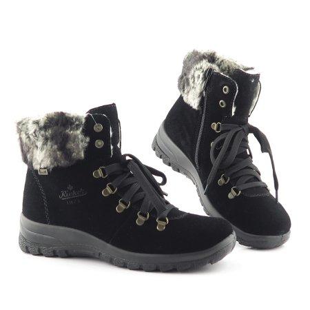 a423d58b93a07 Komfortné čierne topánky s kožušinou RIEKER. VÝPREDAJ