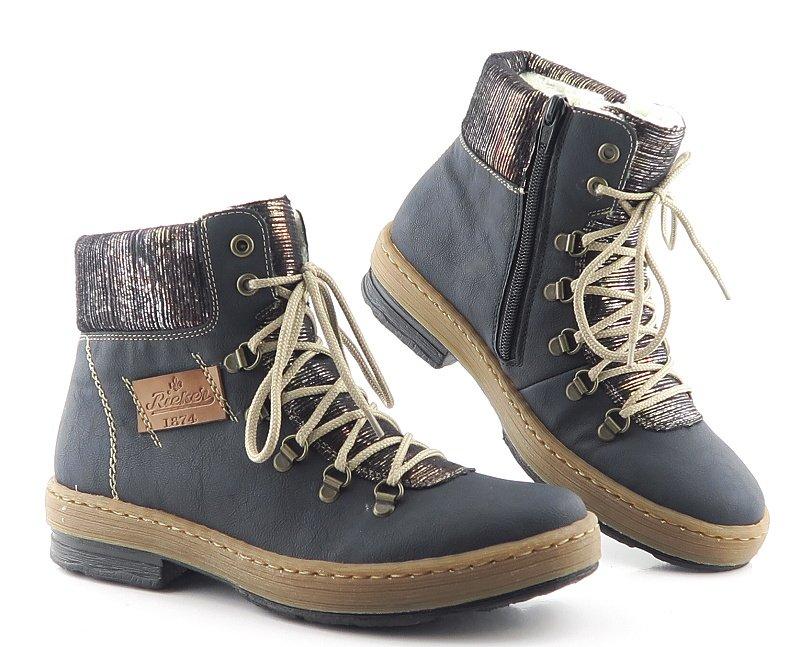 43042f5a116da Komfortné dámske modré topánky RIEKER • Kabelky-topanky.sk