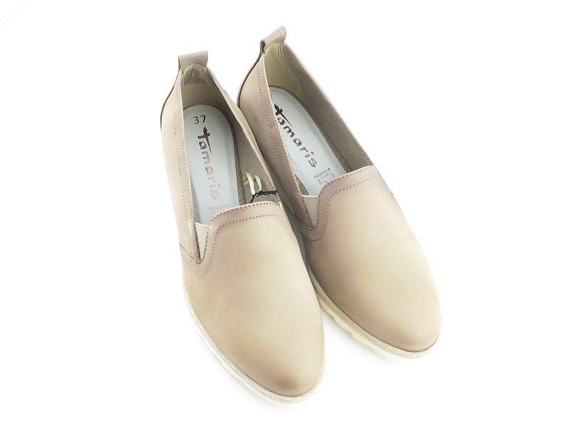 b7e8ac79cc494 Komfortné kožené béžové topánky TAMARIS • Kabelky-topanky.sk