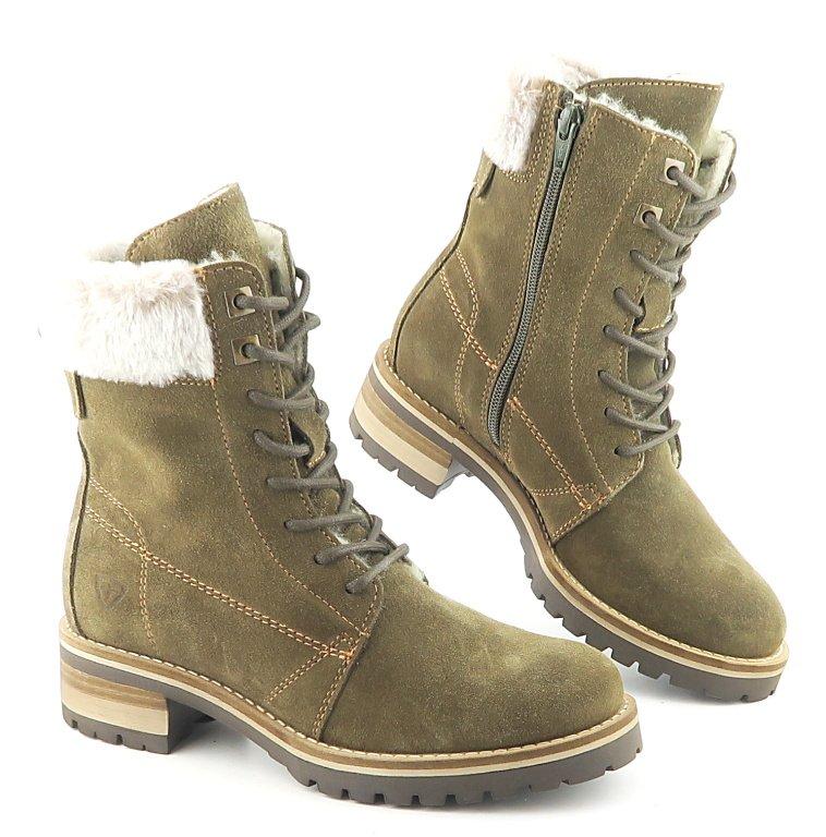 1be860affb9a9 Kožené dámske zelené zateplené topánky TAMARIS • Kabelky-topanky.sk
