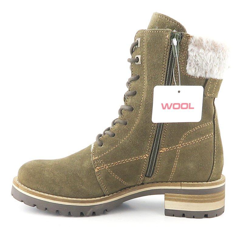 841143354 Kožené dámske zelené zateplené topánky TAMARIS • Kabelky-topanky.sk