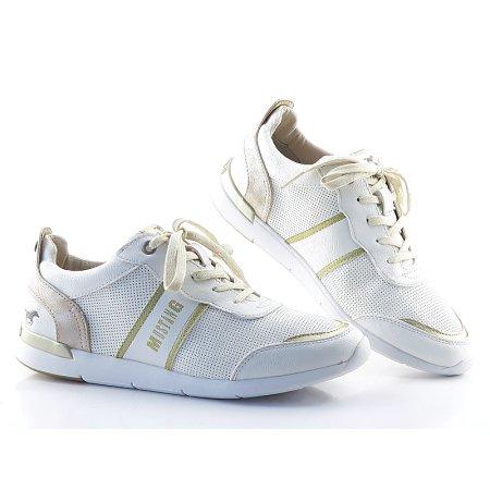 3d662937675f9 Kvalitné dámske bielo-zlaté topánky MUSTANG
