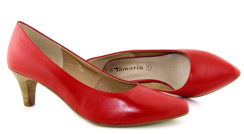 0a5670ecf Kvalitné dámske kožené červené lodičky na podpätku TAMARIS • Kabelky ...