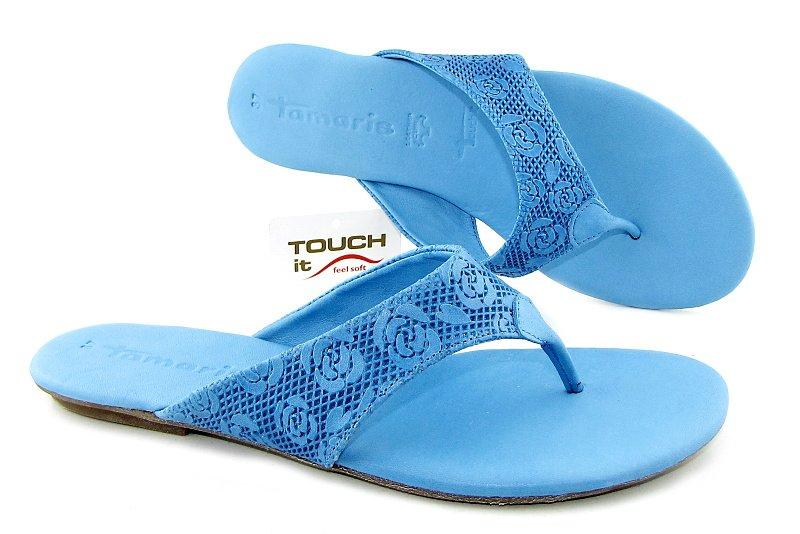 0fdeaaee8e97d Kvalitné dámske kožené modré žabky TAMARIS • Kabelky-topanky.sk