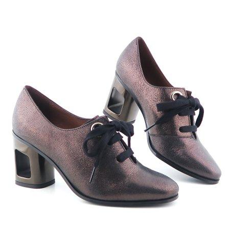 90344bd73ea4a Kvalitné kožené metalické hnedé topánky HISPANITAS
