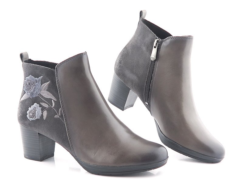 52bfdd952c7a6 Kvalitné kožené sivé členkové čižmy MARCO TOZZI • Kabelky-topanky.sk