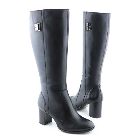 a0b41bf76ce57 Dámske strečové čierne čižmy na podpätku • Kabelky-topanky.sk