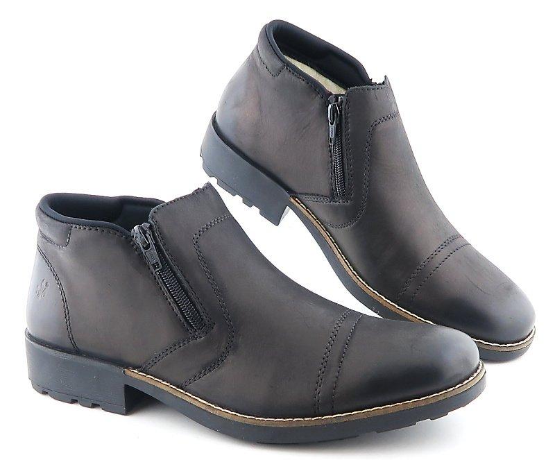 a609a6ba0 Pánske čierne topánky na zips RIEKER • Kabelky-topanky.sk