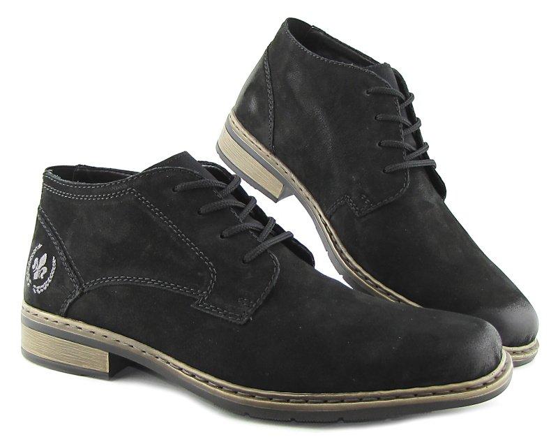 fe7f538b221ec Pánske kožené čierne topánky na šnurovanie RIEKER • Kabelky-topanky.sk