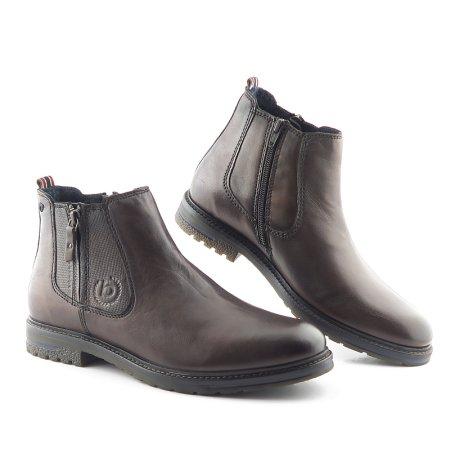 bbb94806ebe5d Pánske kožené hnedé topánky na zips BUGATTI