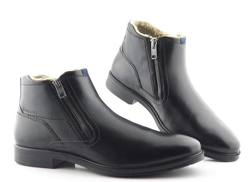 d8b0f0dde Pánske zimné čierne topánky na zips BUGATTI • Kabelky-topanky.sk