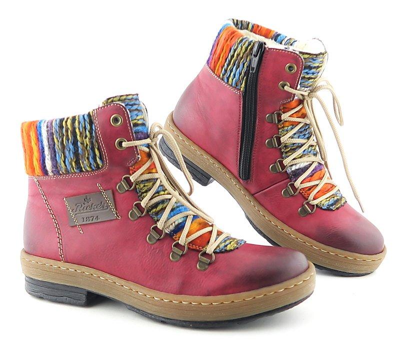 5befd2c810cdc Pohodlné bordové dámske topánky RIEKER • Kabelky-topanky.sk