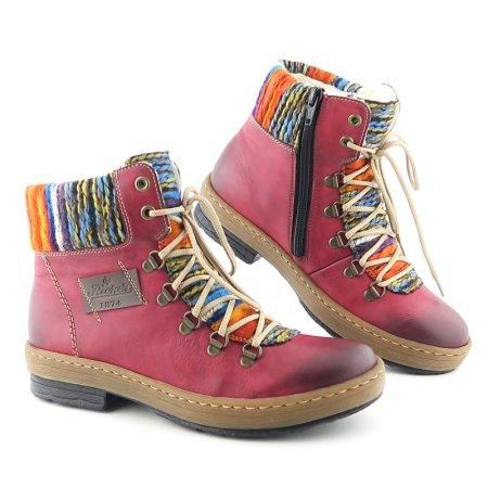 434b793de7098 Pohodlné bordové dámske topánky RIEKER. VÝPREDAJ