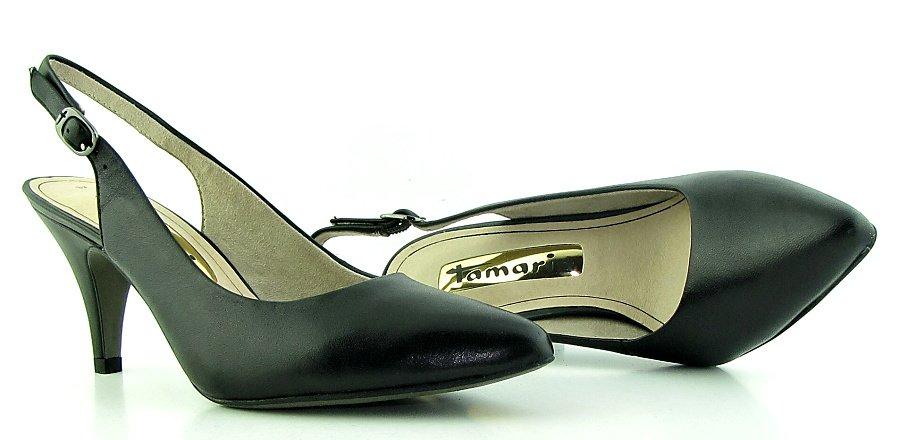 80a3faa35e8be Pohodlné kožené čierne sandálky s uzavretou špičkou TAMARIS ...
