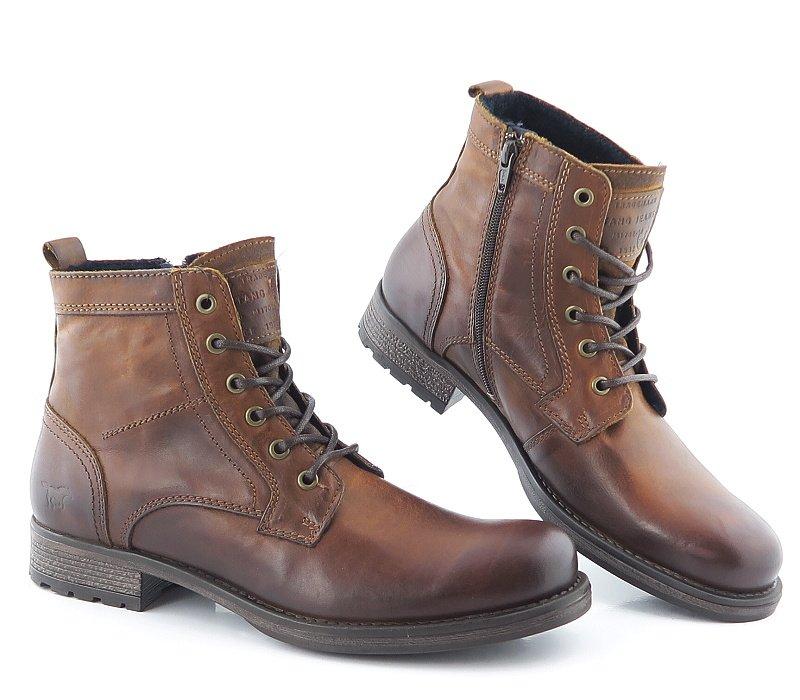 43ecf61d8 Pohodlné kožené hnedé topánky na šnurovanie MUSTANG • Kabelky-topanky.sk