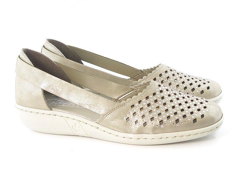 6b935e6116e8e Pohodlné zlaté topánky s kamienkami RIEKER • Kabelky-topanky.sk