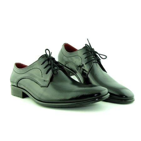 e14bfca13 Spoločenské čierne lakované topánky na šnurovanie
