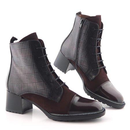 c816b699cfb55 Štýlové kožené bordové členkové topánky HISPANITAS