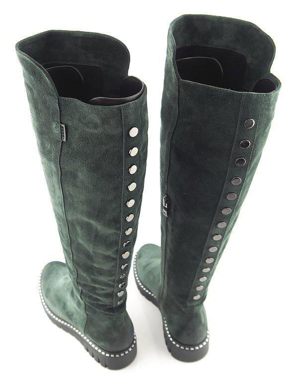 43a2790d7 Štýlové kožené zelené čižmy na zips NESSI • Kabelky-topanky.sk