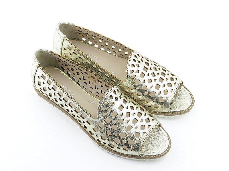 4e94aba94fb08 Štýlové kožené zlaté topánky LANQIER • Kabelky-topanky.sk