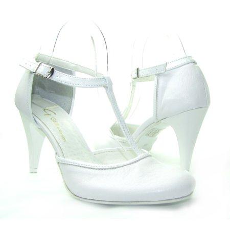 421b219d6c115 Svadobné biele sandálky na podpätku GIFT