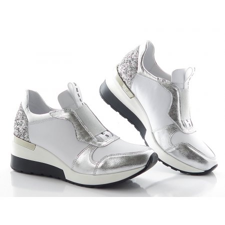 003e6960c0081 Topánky bielo-strieborné CLAUDIO DESSI 6331