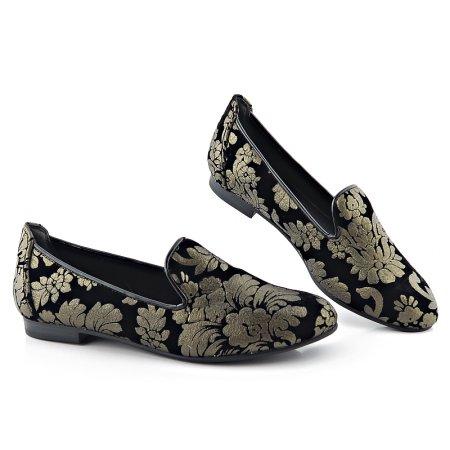 bc0069136 Trendové čierne balerínky s potlačou MARCO TOZZI • Kabelky-topanky.sk