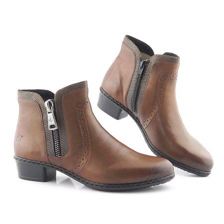 79f8799900009 Trendové kožené hnedé členkové topánky RIEKER