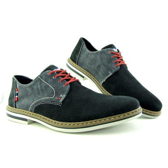 61e40f30312fb Trendové kožené modré topánky na šnurovanie RIEKER • Kabelky-topanky.sk