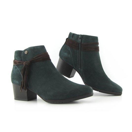 272a6e1685de1 Trendové kožené zelené členkové čižmy JANA • Kabelky-topanky.sk
