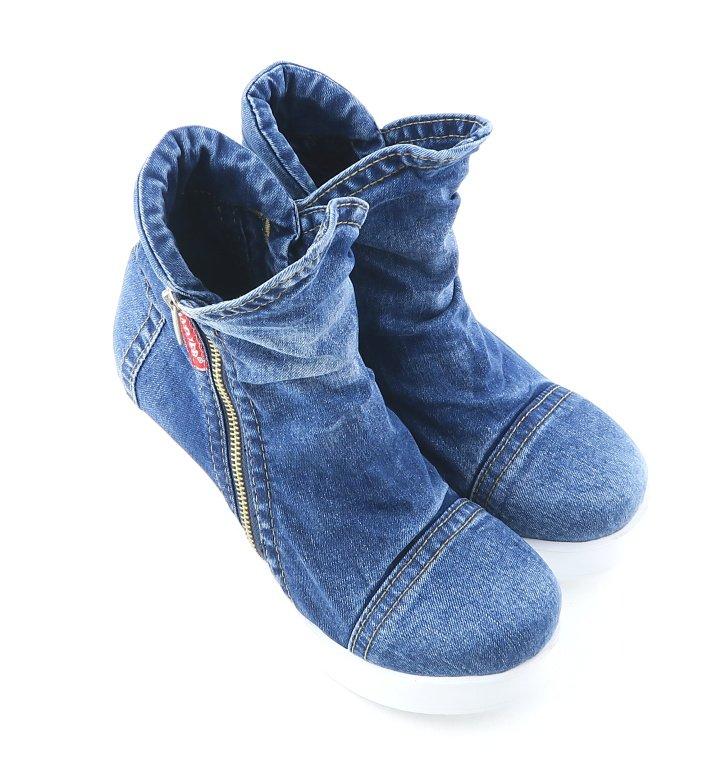 4f9b607ff2e14 Trendové rifľové topánky na klinovom podpätku LANQIER • Kabelky ...