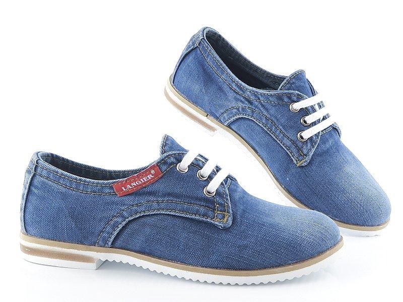 8064b786fe890 Trendové rifľové topánky na šnurovanie LANQIER • Kabelky-topanky.sk