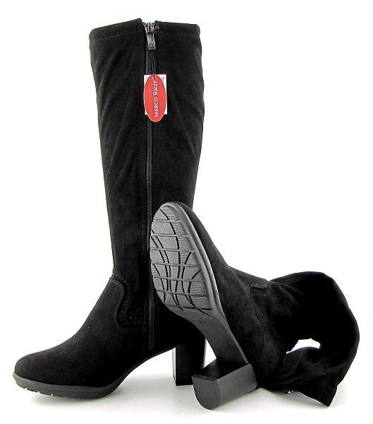 72f292ef05236 Trendové strečové dámske čierne čižmy MARCO TOZZI • Kabelky-topanky.sk