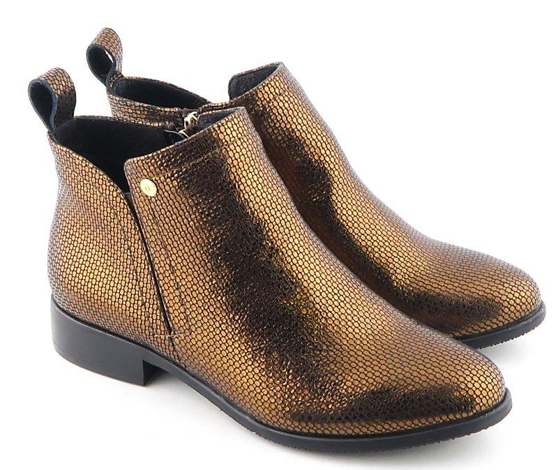 5f72ff463 Výrazné kožené medeno-zlaté topánky NESSI • Kabelky-topanky.sk