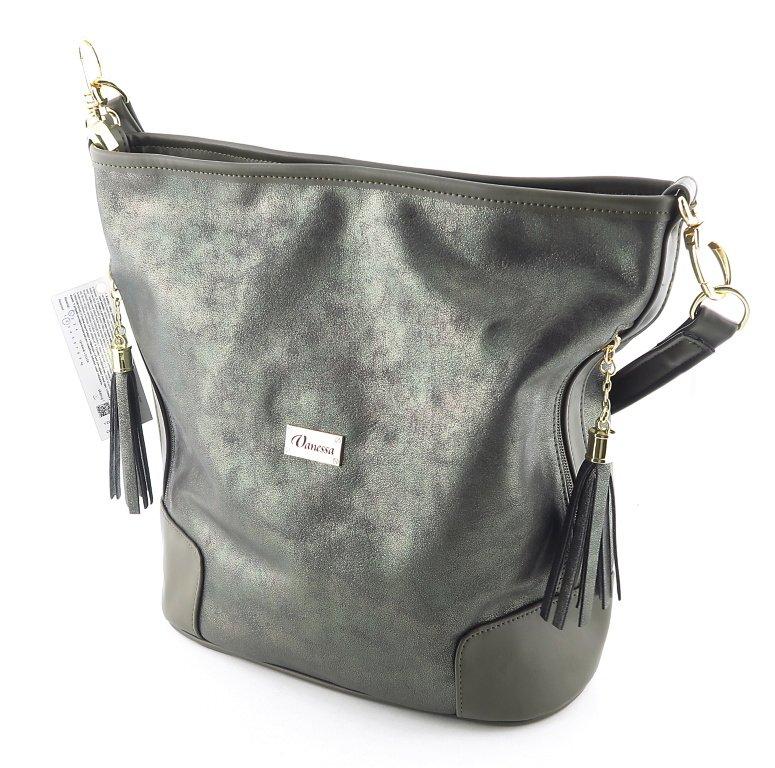 28ba4f5ee6feb Zelená dámska kabelka s odleskom VANESSA • Kabelky-topanky.sk